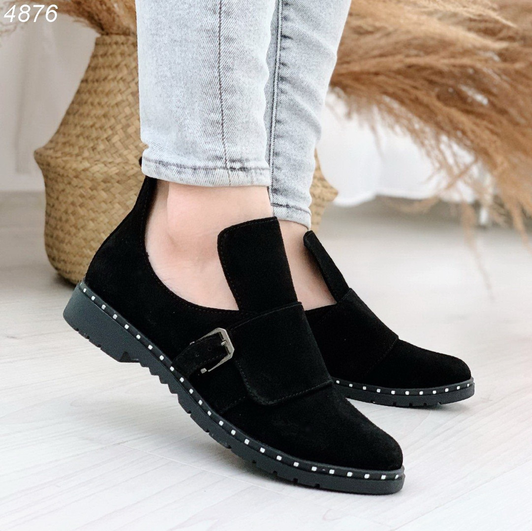 Демисезонные черные ботинки натуральная замша