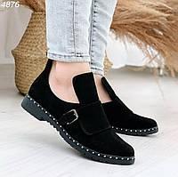 Демисезонные черные ботинки натуральная замша, фото 1