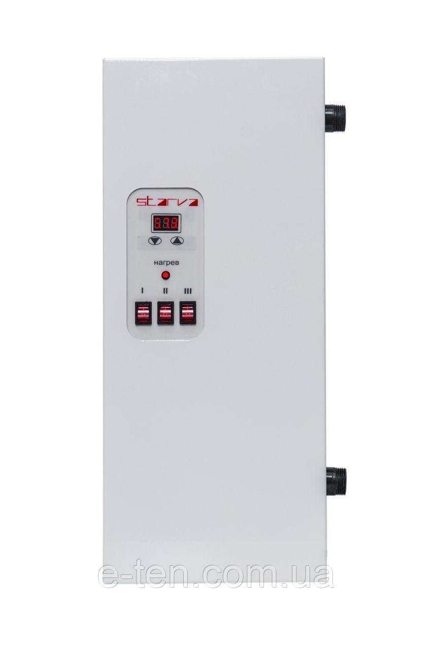 Электрокотел отопления STARVA  3 кВт с цифровым управлением ( 220/380V ) без насоса / габариты 480*200*100мм