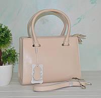 Кожаная бежевая женская сумка, фото 1