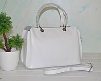 Белая кожаная женская сумка, фото 1