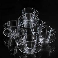 """Набір чашок для чаю 225 мл скляний """"Aqua 95040"""" 12 предметний."""