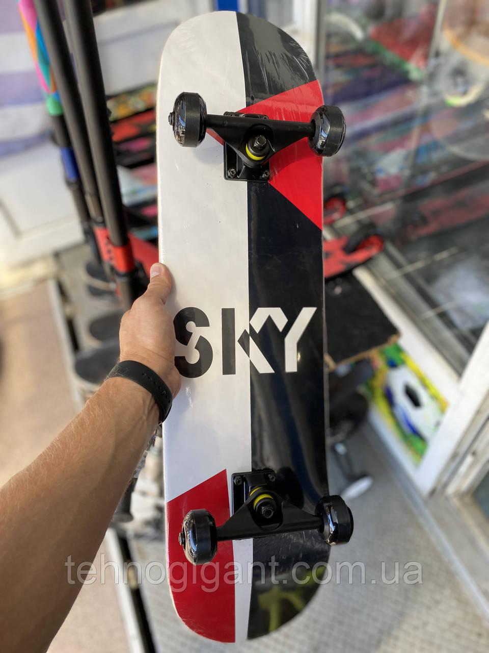 """Скейт деревянный, Скейтборд """" Sky """" , натуральный канадский клен, дека 79х20 см, супер качество"""
