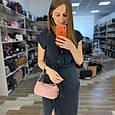 Узкая сумка багет фактура под крокодила / фурнитура серебро / натуральная кожа (252) Розовый, фото 2