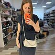 Узкая сумка багет фактура под крокодила / фурнитура серебро / натуральная кожа (252) Розовый, фото 7