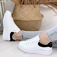 Белые кроссовки с черной пяточкой, фото 1
