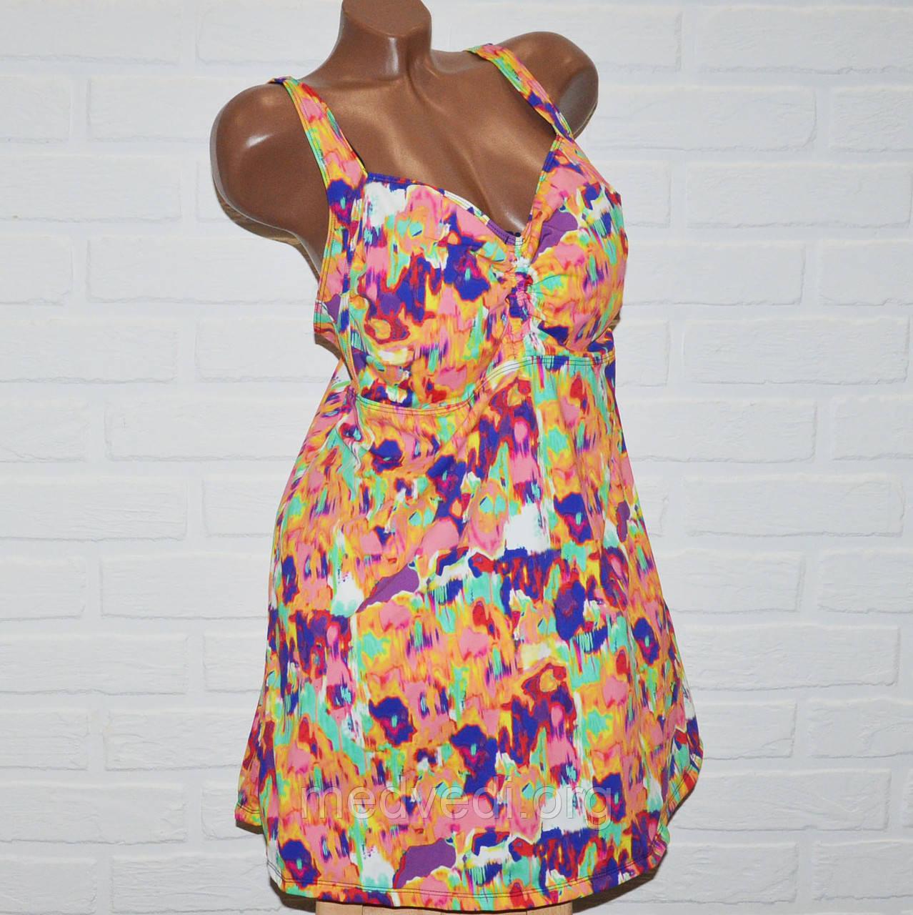 Купальник платье, размеры 64, 66, 68, 70, 72, яркие узоры, женский танкини