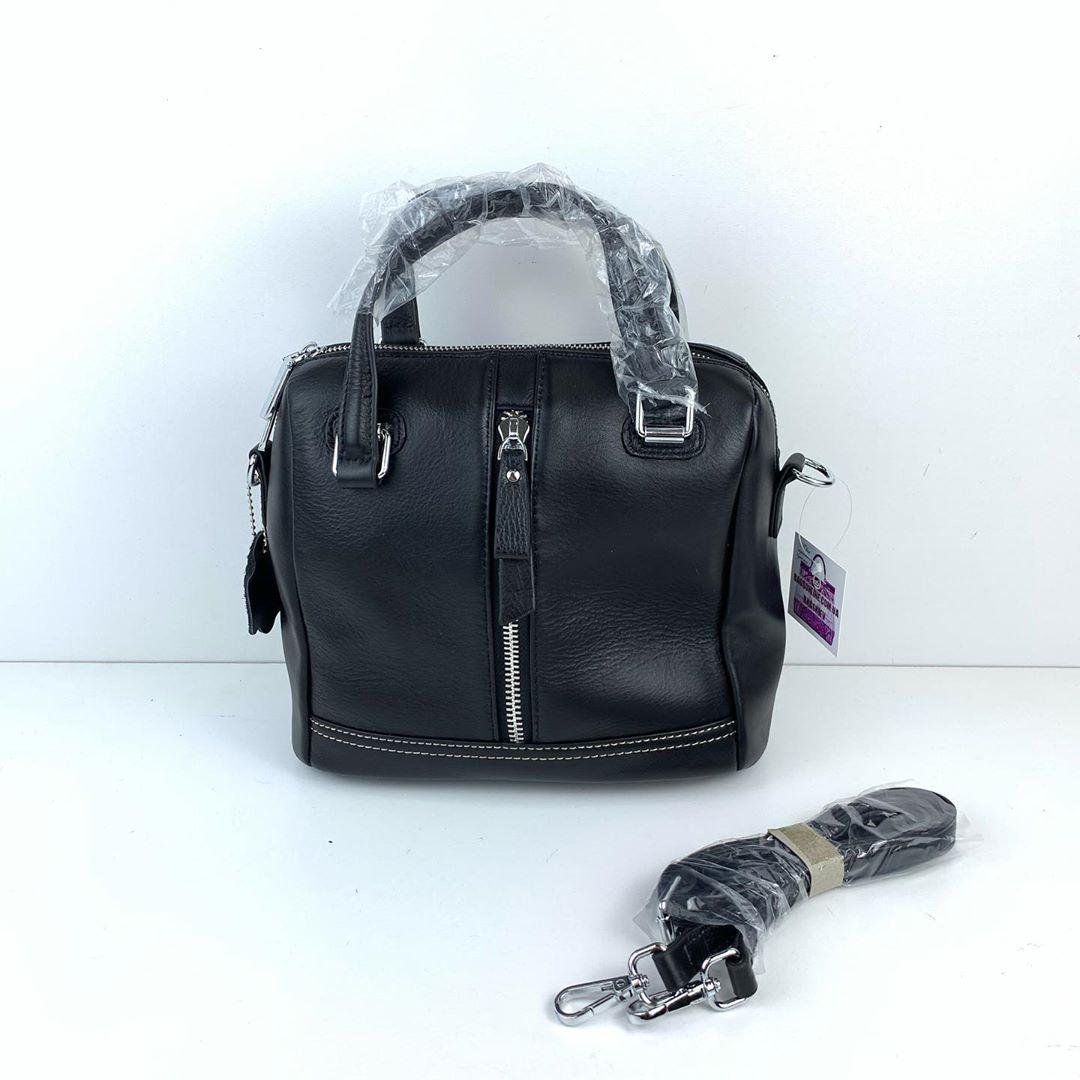 Сумка бочонок карман на молнии спереди по центру / натуральная кожа (266) Черный