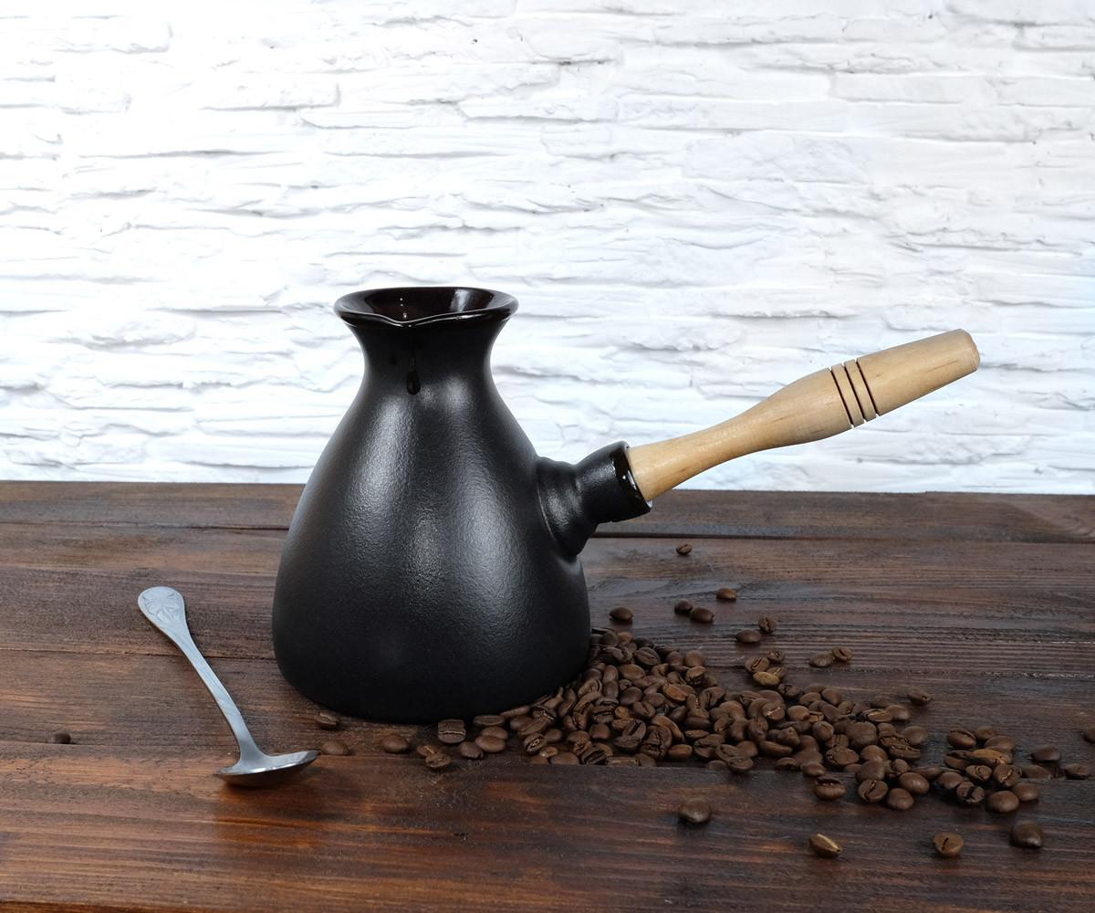 Турка для кофе Americano Black керамика 600 мл + ложка с длинной ручкой и рассекатель