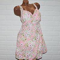 Розовый купальник платье, размеры 64, 66, 68, 70, 72, женский танкини с цветами