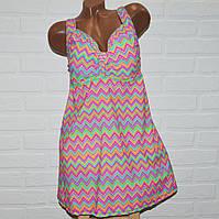 Красивый купальник платье, размеры 64, 66, 68, 70, 72, женский танкини, разноцветные зигзаги