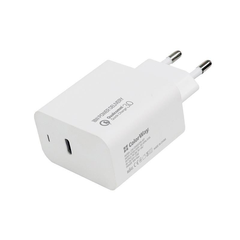 Сетевое зарядное устройство ColorWay Power Delivery Port USB Type-C White (CW-CHS022PD-WT)