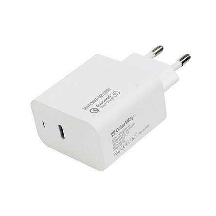 Сетевое зарядное устройство ColorWay Power Delivery Port USB Type-C White (CW-CHS022PD-WT), фото 2