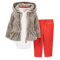 Теплый детский комплект 3в1(флисовые штанишки+боди футболка+теплая флисовая кофточка)для девочки Картерс