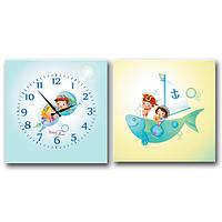 Часы настенные на холсте 2х секционные Моряки (28*28см 1 секция)