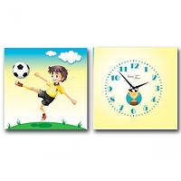 Часы настенные на холсте 2х секционные Футболист (28*28см 1 секция)