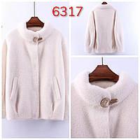 Женское пальто из шерсти альпаки цвет белый норма уверсайс с карманами воротником стильный модный ягкий