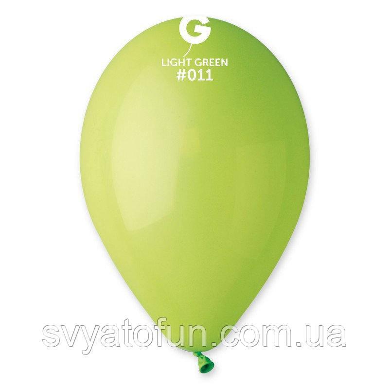"""Латексные воздушные шарики 8"""" пастель 11 салатовый 100шт/уп Gemar"""