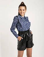 Блузка школьная на девочек с рюшами 146