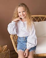 Вышиванка для девочки Звезда белая с белым орнаментом