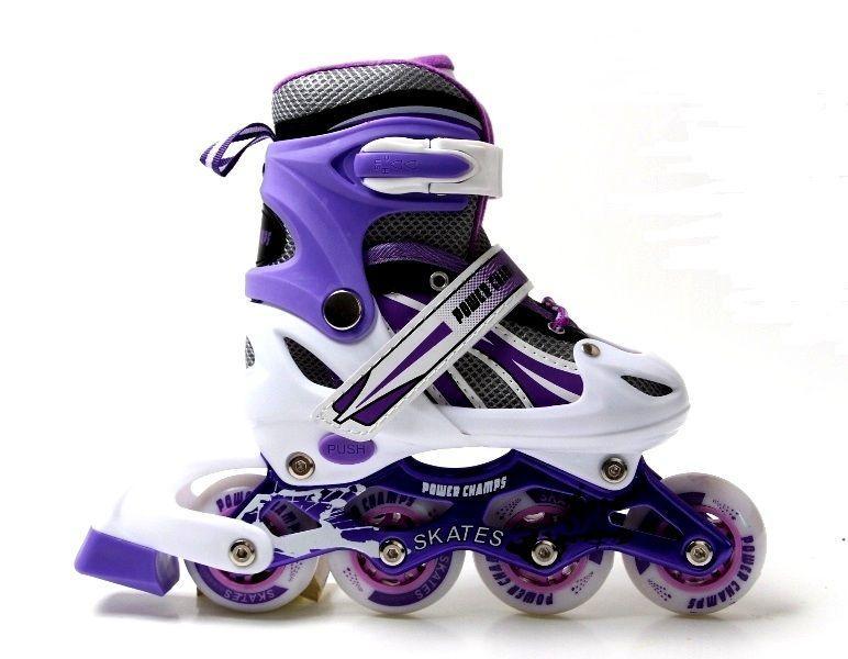 Детские ролики Power Champs фиолетовые размер 29-33