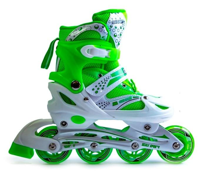 Детские ролики Superpower PU зеленые размер 34-37