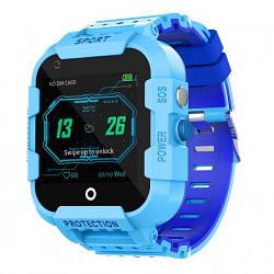 Детские Умные смарт часы телефон с GPS и WI-FI Smart Baby Watch Df39Z Plus Original С видеозвонком 4G голубые