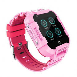 Детские Умные Смарт Часы телефон с GPS и WI-FI Baby Smart Watch Df39Z Plus Original С Видеозвонком 4G Розовые