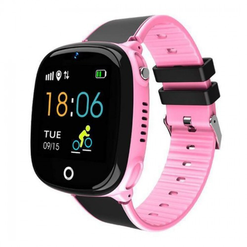 Детские умные смарт часы-телефон с GPS Smart Baby Watch Hw11 Original Aqua Plus с водозащитой черно-розовые