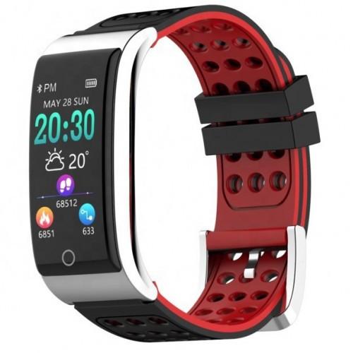 Умный фитнес браслет Smart Band PRO E08 с тонометром черно-красный (sm)