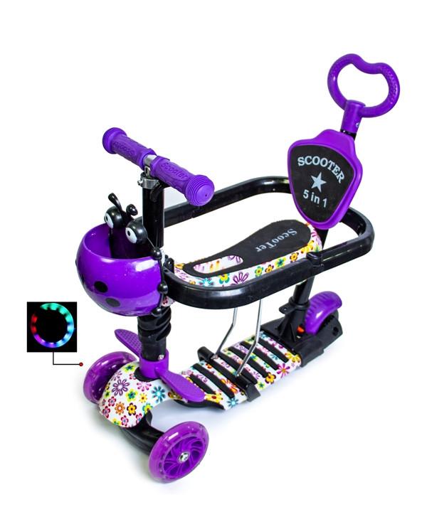 """Детский самокат Scooter 5in1 с бортиком и светящими колесами """"Божья коровка"""" Violet Flowers"""