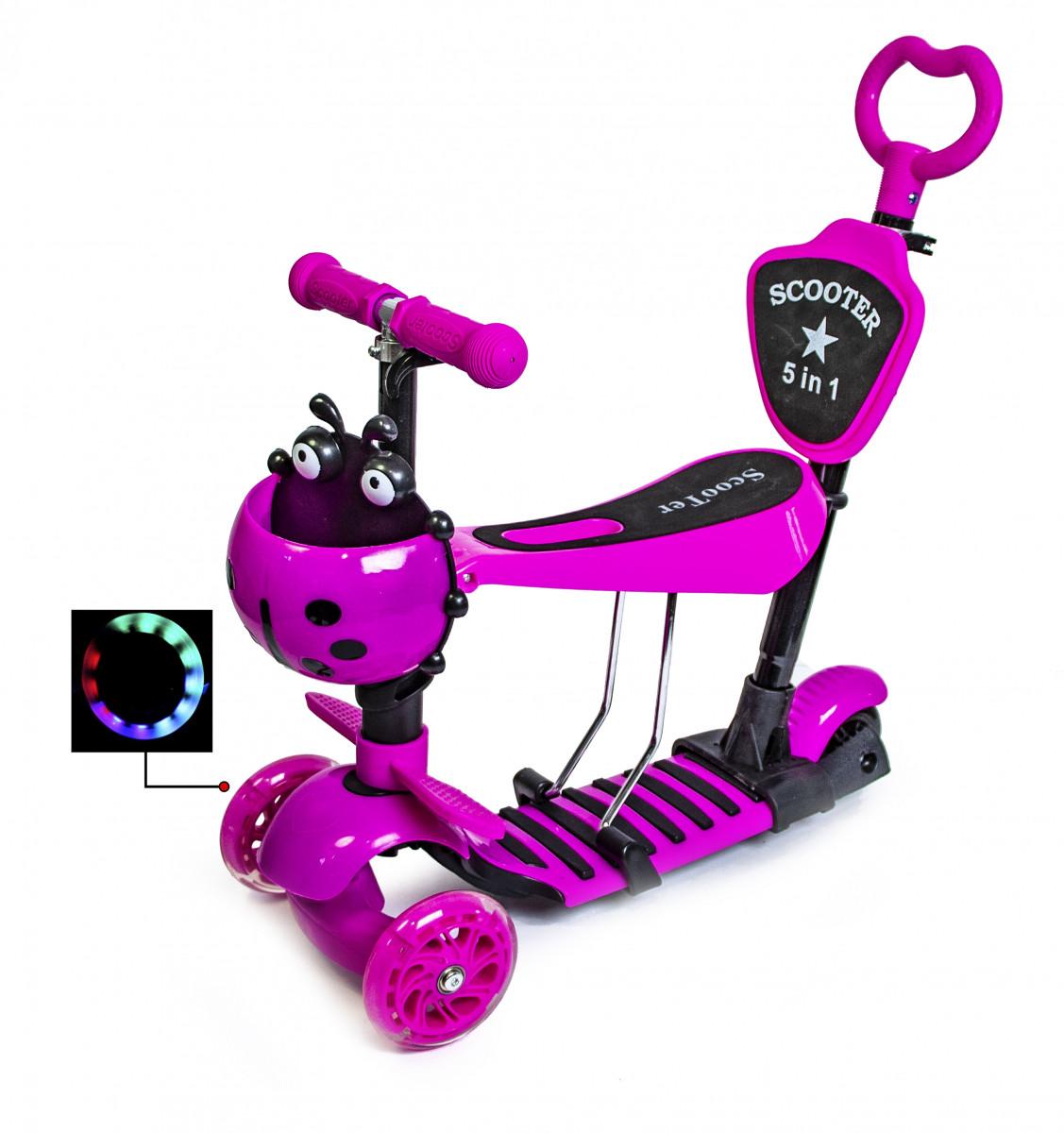 """Детский самокат Scooter 5in1 с корзинкой """"Божья коровка"""" розовый"""