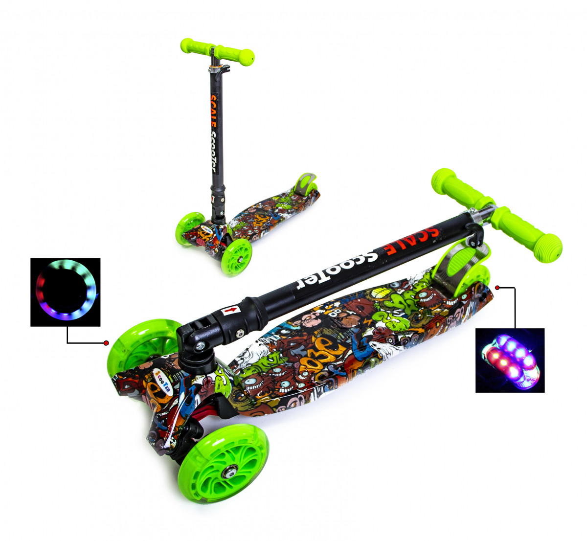 Детский самокат Scooter Maxi со складной ручкой Monstres
