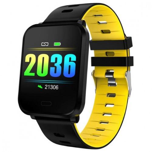 Умный фитнес браслет Smart Band PRO K10 Original с тонометром черно-желтый