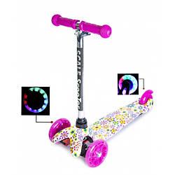 Детский самокат Scooter Mini Best c T-образной регулируемой ручкой Violet Flowers
