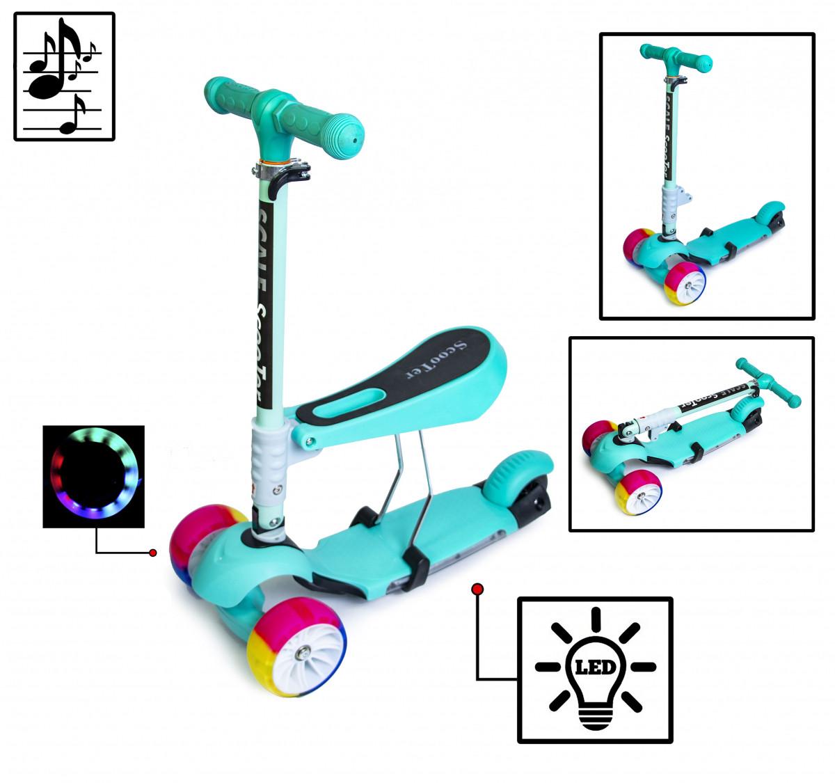 Детский самокат Scooter Smart 3in1 ccо светящимися колесами, музыкой и складной ручкой Тиффани