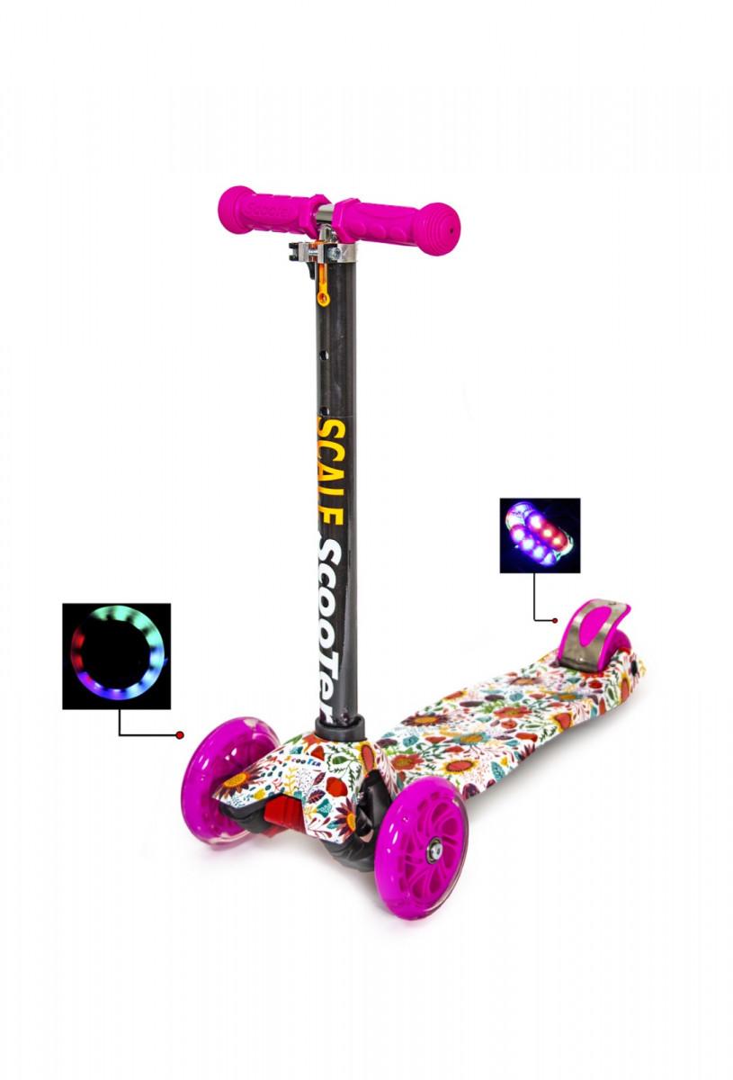 Детский самокат со светящиеся колёсами Scooter MAXI Beauty Flowers