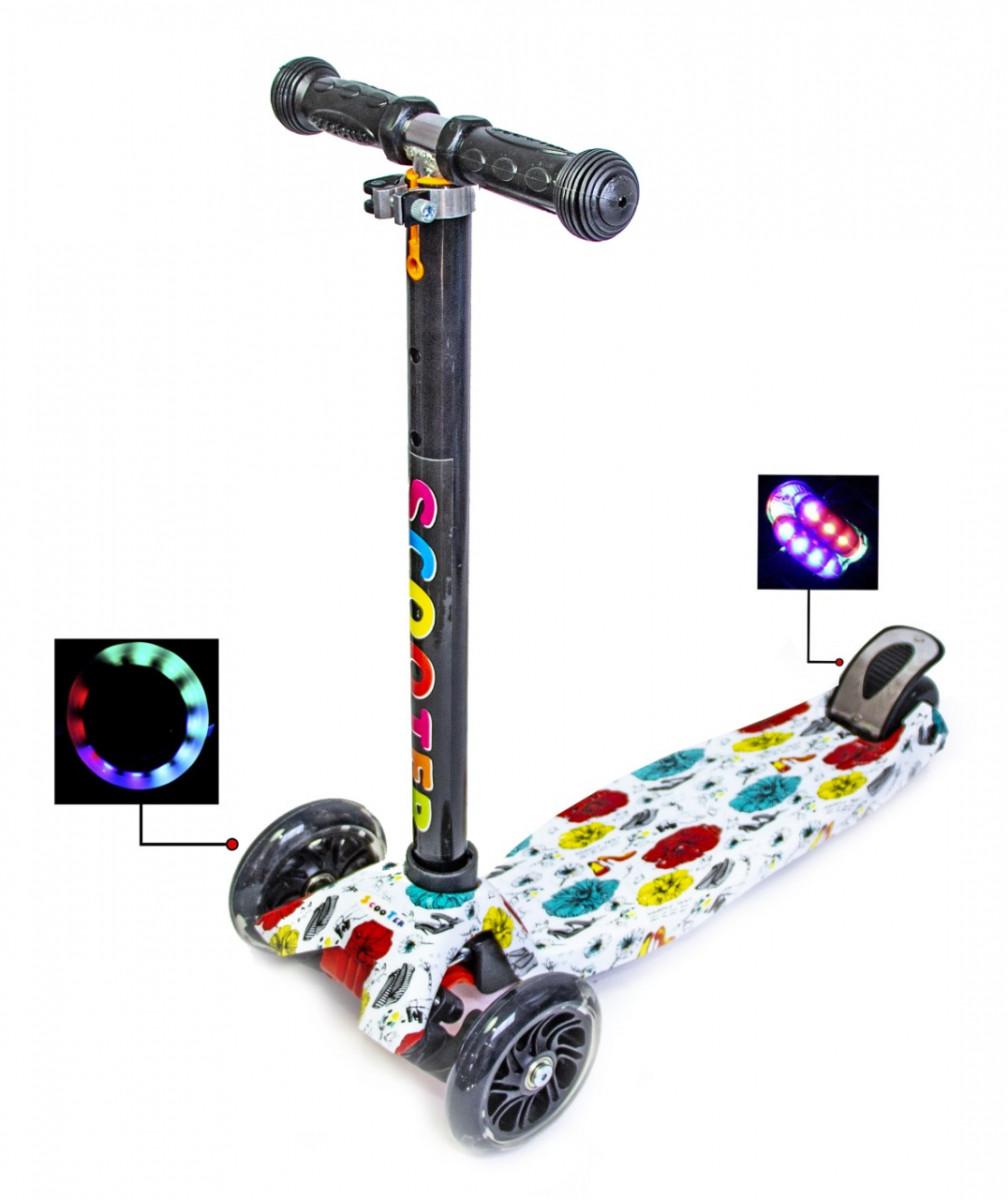 Детский самокат со светящиеся колёсами Scooter MAXI Different Flowers