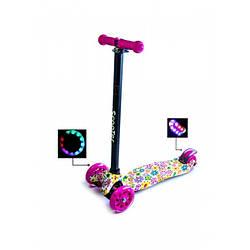 Детский самокат со светящиеся колёсами Scooter MAXI Flowers 2