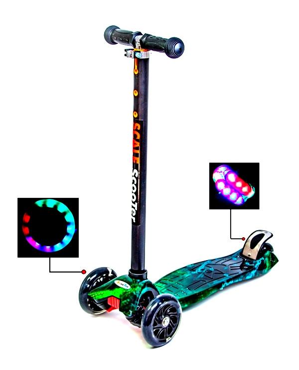 Детский самокат со светящиеся колёсами Scooter MAXI H20