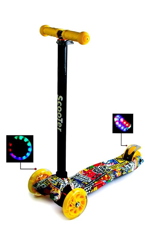 Детский самокат со светящиеся колёсами Scooter MAXI Inscription