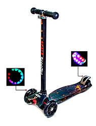Детский самокат со светящиеся колёсами Scooter MAXI Планета