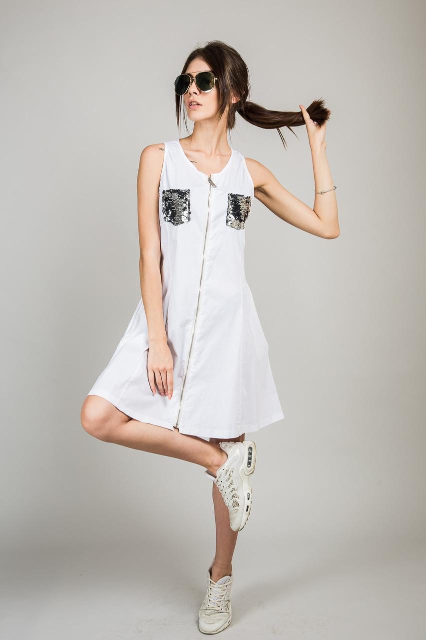 Сарафан в стилі мілітарі M collection - білий колір, L (є розміри)