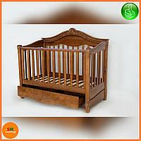 """Детская деревянная кроватка """"VIVA VIKTORIA"""", c ящиком, цвет орех"""