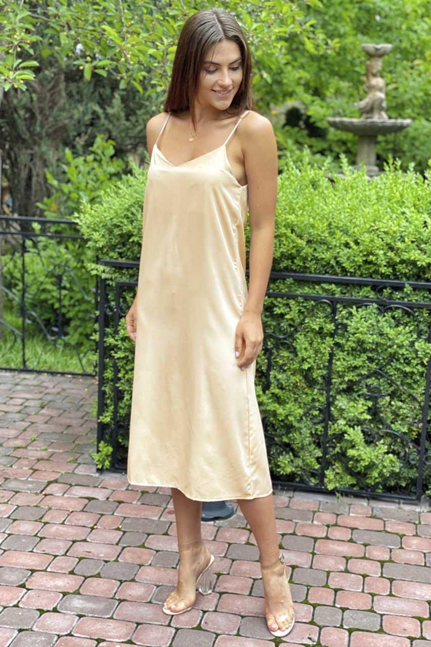 Платье-комбинация длины миди на тонких бретелях  Vistyle - бежевый цвет, L (есть размеры)