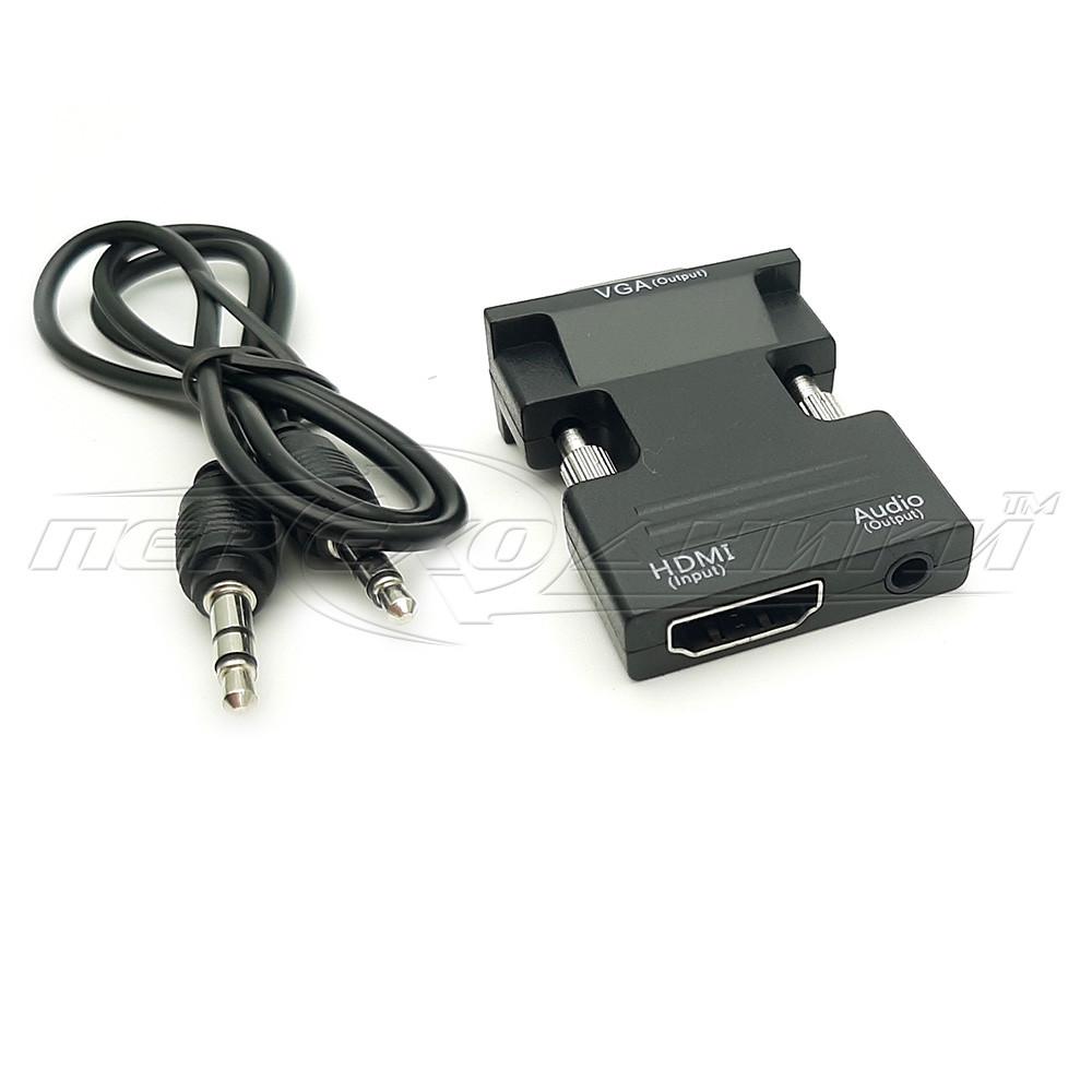 Конвертер (мини)  HDMI to VGA + 3.5 Audio