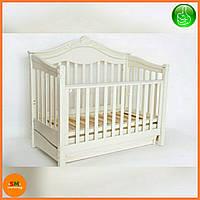 """Детская деревянная кроватка """"VIVA VIKTORIA"""", c ящиком, цвет белый"""