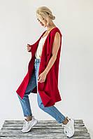 Женская жилетка интересного кроя P-M - красный цвет, L/XL (есть размеры), фото 1