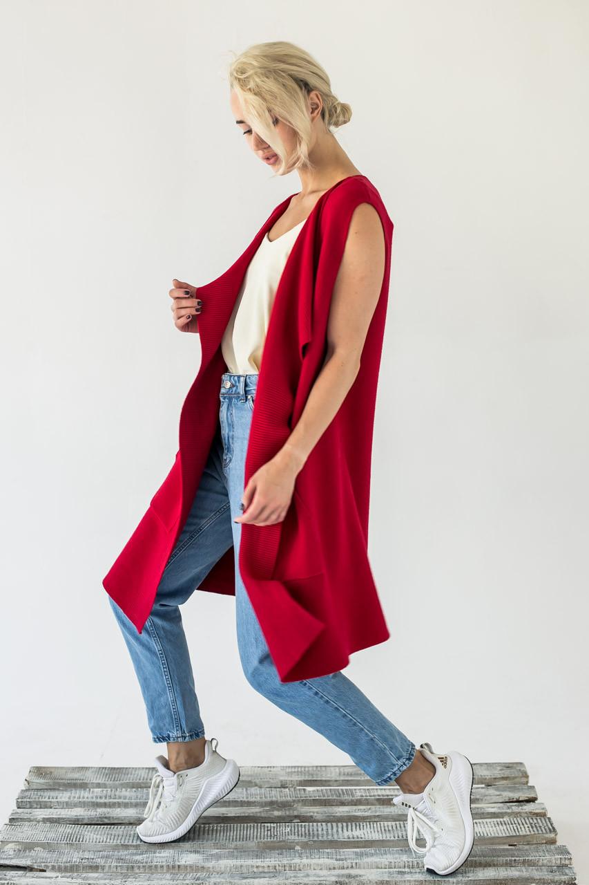 Женская жилетка интересного кроя P-M - красный цвет, L/XL (есть размеры)