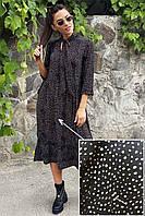 Платье миди в горошек и крошечным дефектом Crep - черный цвет, S (есть размеры)